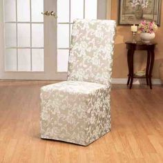 Sure Fit Scroll Long Dining Room Chair Slipcovers. Image 2 of Dining Room Chair Slipcovers, Dining Room Chair Covers, Dining Chair Slipcovers, Dining Room Chairs, Furniture Slipcovers, Furniture Chairs, Parson Chair Covers, Luxury Dining Chair, Pub Chairs