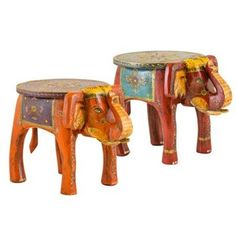 Hand Painted Elephant Side Table