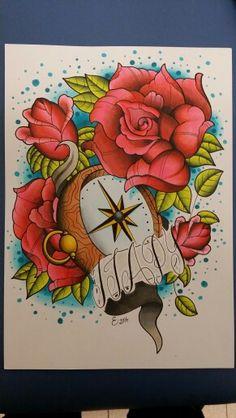 Brújula y rosas. Entintado y rotuladores