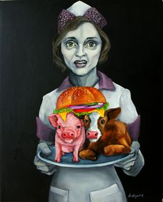 Bacon burger by Dana Ellyn. The murdered flesh-on-a-plate is bad enough, but notice the dripping cheese. It is made from stolen milk not meant for humans; this is milk that a mama cow produces for her baby calf. Vegan Memes, Vegan Quotes, Vegan Art, Reasons To Be Vegan, Amor Animal, Why Vegan, Vegan Animals, A Level Art, Chicken Nuggets