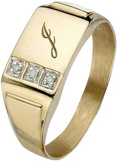 9 Carat Yellow Gold 3 Point Diamond Set Initial Mens Signet Ring on shopstyle.co.uk