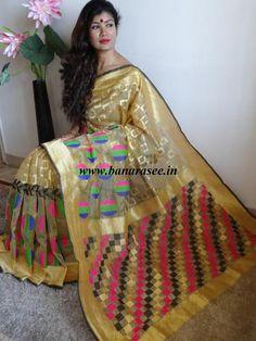 Banarasee/Banarasee Handwoven Tissue Saree With Multicolor Buti- Gold