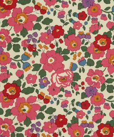 Liberty Art Fabrics Betsy J Tana Lawn.  This stylised small floral design was designed for Liberty in 1933. The only clue we have of who designed it are the initials DS. DS designed many of our favourite Tana patterns. Betsy has been on Classic Tana since 1982.