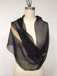 Black Silk Chiffon Infinity Scarf With Olive Silk by Olimpias