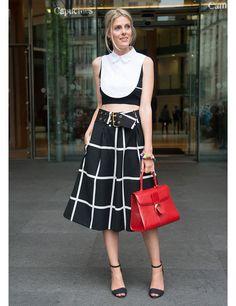 Paris Haute Couture street style Sofie Valkiers wears Cos top, F . Edigio skirt, Zara shoes, Delvaux bag.