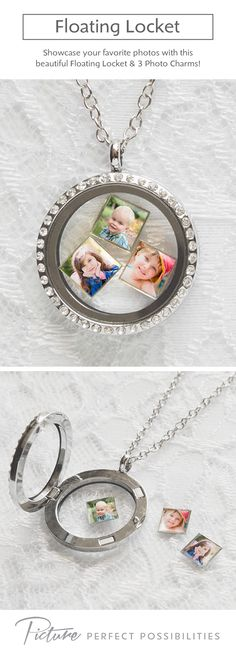 Our Floating Locket comes embellished with stones, a chain-link necklace, and three floating photo charms. Just the photo charms are available if you already have a floating locket. Explore our entire collection of photo gifts!