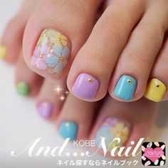 Look at these spring nail art Pretty Toe Nails, Cute Toe Nails, Gorgeous Nails, Toe Nail Color, Toe Nail Art, Nail Colors, Nail Nail, Toenail Art Designs, Pedicure Designs