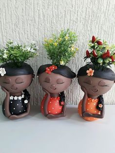 Face Planters, Ceramic Planters, Flower Pot Crafts, Flower Pots, Flower Pot Art, House Plants Decor, Plant Decor, Diy Clay, Clay Crafts