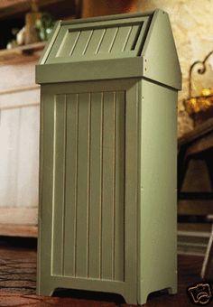 Wooden Beadboard Swing Top Trash Bin in Sage - Trashcans Unlimited