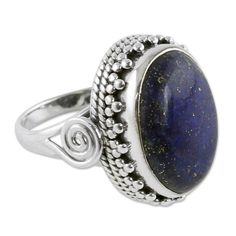 Sterling Silver 'Majestic Blue' Lapis Lazuli Ring (India) - Overstock Shopping - Great Deals on Novica Rings