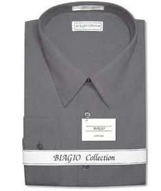 Biagio Men's 100% COTTON Solid CHARCOAL GREY Dress Shirt w/ Convertible Cuffs