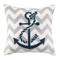 Anchor Pillow. The embroidered chevron design creates a fashionable pattern for our Anchor to adorn.
