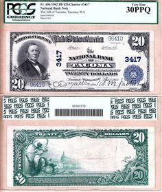 1902 PB $20 The National Bank of Tacoma, WA. Fr.656 CH#3417; PCGS VF30 PPQ