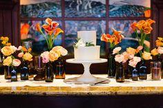 Tuscan in Tremblant — Full Bloom - cake - bud vases - brown bottles - garden rose Table Centerpieces, Table Decorations, Brown Bottles, Bottle Garden, At The Hotel, Bud Vases, Wedding Bells, Floral Design, Wedding Inspiration