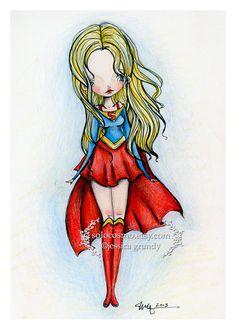 """""""Supergirl"""" by Jessica Grundy/von Braun, signed 11X17 poster print"""
