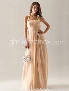 Empire Halter Floor-length Chiffon Bridesmaid Dress - USD $ 89.99    in ocean blue, royal blue, sky blue