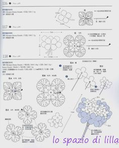 lo spazio di lilla: Bouquets di fiori all'uncinetto con schemi / bouquets of crochet flowers with charts