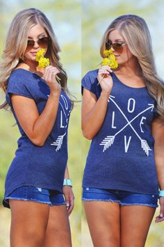 Cupids Arrow Top - Navy Blue from Closet Candy Boutique