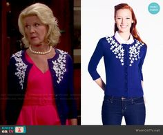 Pam's navy floral applique cardigan on The Bold and the Beautiful.  Outfit Details: http://wornontv.net/48811/ #TheBoldandtheBeautiful
