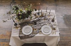 romantic tablescape on sweetheart table