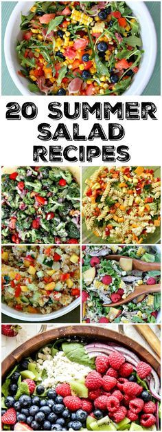 20 Summer Salad Recipes: Blueberry and Corn Salad with Prosciutto, Avocado- Pine Nut Salad, Broccoli Salad, Lobster Roll Salad, Bacon- Avocado and Corn Salad, Grilled Watermelon Salad, Thai Summer Salad and many more! - great recipes for a Labor Day BBQ!