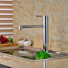 51.75$  Watch now - Chrome Brass Deck Mount Hot Cold Water Rotation Kitchen Sink Faucet Single Handle Mixer Taps  #buymethat
