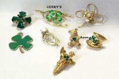 Vintage St Patrick's Day Brooch Lot Gerry's Shamrock Wishbone Pearl Rhinestone | eBay