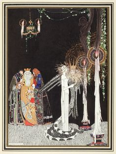 https://flic.kr/p/ayQaGE   'She saw the Lindworm for the first time as he came in and stood by her side'   Illustration by Kay Nielsen in East of the sun and west of the moon (1914), (198 x 150 mm), Alexander Turnbull Library, qRPr HODD NIEL 1914.