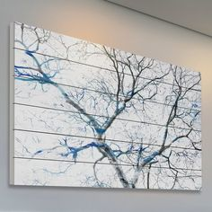 'Blue Branches' by Parvez Taj Painting Print on White Wood