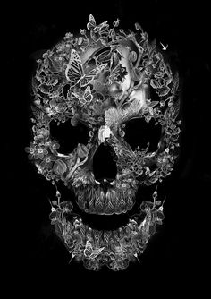 FANTASMAGORIK® BOTANIC SKULL by obery nicolas - a great looking sugar skull piece of art! Love this!