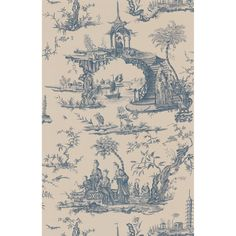 Brewster Blue Chinoiserie Toile Wallpaper - Overstock™ Shopping - Top Rated Brewster Wallpaper