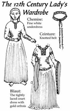 12th Century Lady's Wardrobe -- be sure to click over to Aibel's  bliaut page for lots of resources.