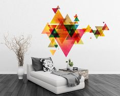 Triangle Decal Geometric Vinyl Decal Wall Art Mid by decalSticker, $96.00