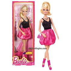 Product Features - Includes: BARBIE in Glittering Black/Pink Puff Dress with Necklace and Purse - Doll measured approximately 12 inch tall - Produced in year 2013 - For age 3 and up Product De Barbie Girl Doll, New Barbie Dolls, Barbie Fashionista Dolls, Barbie Hair, Beautiful Barbie Dolls, Barbie Dress, Barbie And Ken, Pink Barbie, Barbie Toys