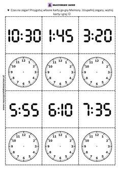 Memory pamięć zegar godziny gra do druku Printable Alphabet Worksheets, Worksheets For Kids, Teacher Tools, Telling Time, Math For Kids, Home Schooling, Math Activities, Fun Learning, Second Grade