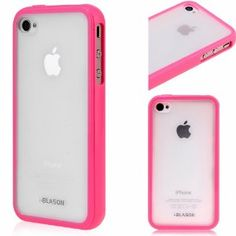 Amazon.com: i-Blason Apple iPhone 4 4S 16GB 32GB TPU Transparent Gel Silicone Skin Case Cover + Free Screen Protector (Many Colors Available) (Pink): Cell Phones & Accessories