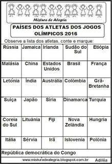 Atletas e países participantes das olimpíadas 2016