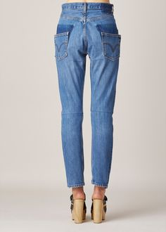 Vetements Slim High Waisted Jeans (Blue)