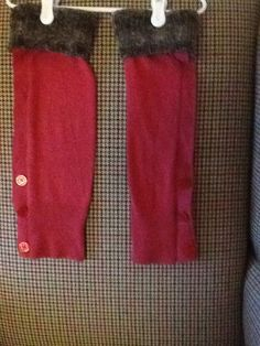 Girl leg warmers upcycled from adult sweater. Size small.