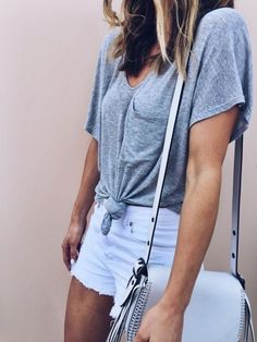 knotted pocket tees + white shorts