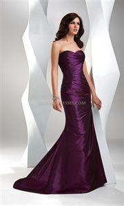 Elegant Mermaid Taffeta Violet Strapless Dress Formal Gown Flirt P1503