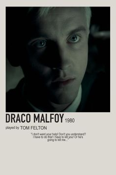 minimalist character polaroid draco malfoy poster (2009) - draco malfoy, tom felton, slytherin, 1980 Harry Potter Movie Posters, Harry Potter Cards, Iconic Movie Posters, Harry Potter Wizard, Harry Potter Characters, Harry Potter World, Slytherin, Hogwarts, Draco Malfoy Aesthetic