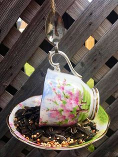 Garden Bird Feeders, Silver Spoons, Perfect Gift For Her, Garden Ornaments, Upcycled Vintage, Royal Albert, Teacup, Gifts For Mom, Espresso