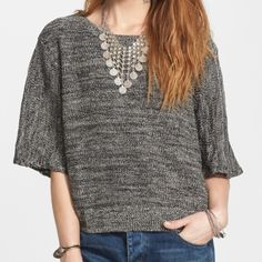 NWT Free People Pullover A salt-and-pepper marl infused with linen and cotton is fashioned into a boxy sweater styled with roomy elbow sleeves and a tantalizing split back. Free People Sweaters