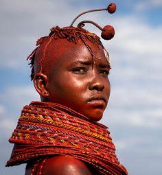Africa | Unmarried Turkana girl. Lake Turkana, Kenya | ©Eric Lafforgue.