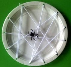 Paper Plate Spider Web - Kid's #Halloween #Craft #kids--> in a classroom could ask what shapes to the students see, how many, etc.