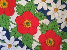 RARE! vtg Utica TWIN FITTED Sheet Big Print Floral 60s mod retro fabric blue mod #Utica