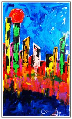 """""""Vegas Strip""""...acrylic on museum stretched canvas...60"""" x 36"""" x 3""""...©Mac Worthington, artist, 2014 For further information on this piece or to discuss a custom design please call 614 