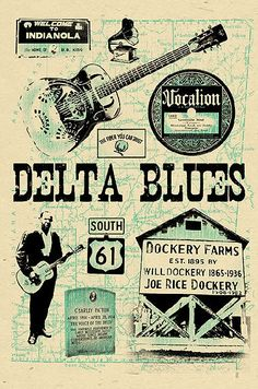Delta Blues Poster signed by Grego  12x18  by MojohandBlues, $10.00