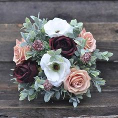 Wedding Bouquet Silk Wedding Bouquet Burgundy Rose Rose